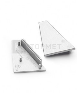 LED juostos profilio CORNER27 užbaigimo elementas, sidabrinis