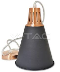 Kūgio formos juodas pakabinamas šviestuvas MODERN su vario spalvos laikikliu