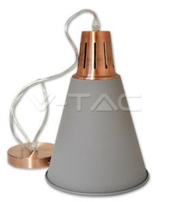 Kūgio formos pilkas pakabinamas šviestuvas MODERN su vario spalvos laikikliu