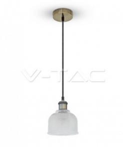 Pakabinamas stiklinis šviestuvas su metaliniu laikikliu V-TAC