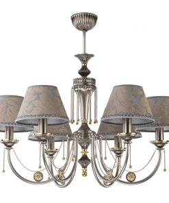 Šešių lempų sietynas su tekstilės gaubteliais KUTEK DORATO