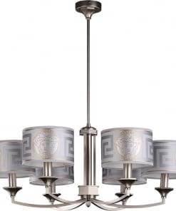 Šešių lempų lubinis šviestuvas su tekstilės gaubteliais DECOR