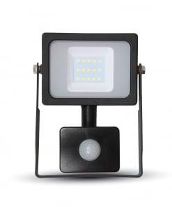 10W juodos spalvos LED prožektorius V-TAC SLIM Su judesio davikliu
