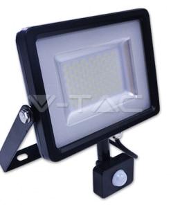 30W juodas LED prožektorius su judesio davikliu V-TAC
