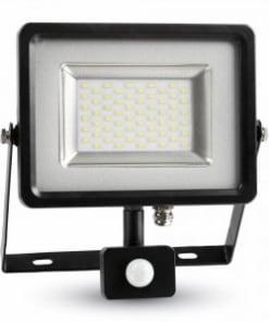 30W juodas LED prožektorius V-TAC SLIM  cable su judesio davikliu