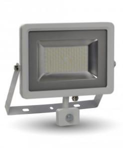 50W baltas LED prožektorius su judesio davikliu V-TAC SLIM cable