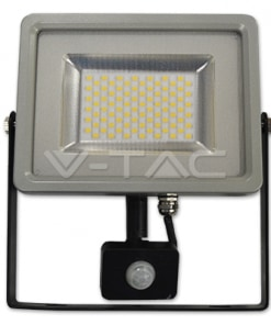 50W juodos ir pilkos spalvos LED prožektorius V-TAC SLIM su judesio davikliu