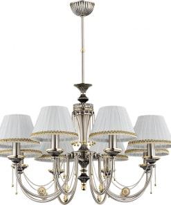 Aštuonių lempų šviestuvas su tekstilės gaubteliais DORATO