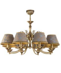 Aštuonių lempų lubinis šviestuvas CASAMIA su tekstilės gaubteliais