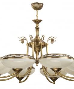 Aštuonių lempų lubinis šviestuvas su stikliniais gaubteliais CASAMIA