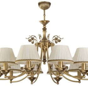 Dešimties lempų lubinis šviestuvas CASAMIA su tekstilės gaubteliais