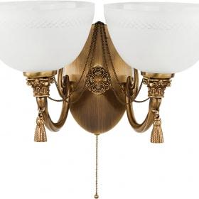 Dvigubas sieninis šviestuvas su stiklo gaubteliais ROMA