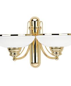 Klasikinio stiliaus dviejų lempų sieninis šviestuvas su stiklo gaubteliu N
