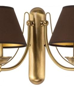 Klasikinio stiliaus dviejų lempų sieninis šviestuvas su tekstilės gaubteliu N