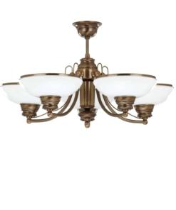 Klasikinio stiliaus penkių lempų lubinis šviestuvas su stiklo gaubteliu N