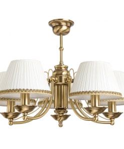 Klasikinio stiliaus penkių lempų lubinis šviestuvas su tekstilės gaubteliu N