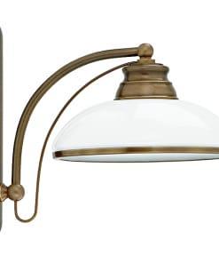Klasikinio stiliaus sieninis šviestuvas su stiklo gaubteliu N