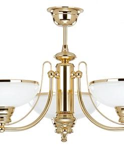 Klasikinio stiliaus trijų lempų lubinis šviestuvas su stiklo gaubteliu N