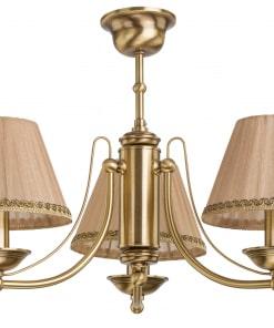 Klasikinio stiliaus trijų lempų lubinis šviestuvas su tekstilės gaubteliu N