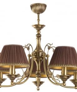 Penkių lempų lubinis šviestuvas CASAMIA su tekstilės gaubteliais