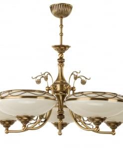 Penkių lempų lubinis šviestuvas su stikliniais gaubteliais CASAMIA