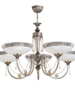 Penkių lempų lubinis šviestuvas su stiklo gaubtu DORATO