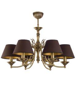 Šešių lempų lubinis šviestuvas CASAMIA su tekstilės gaubteliais