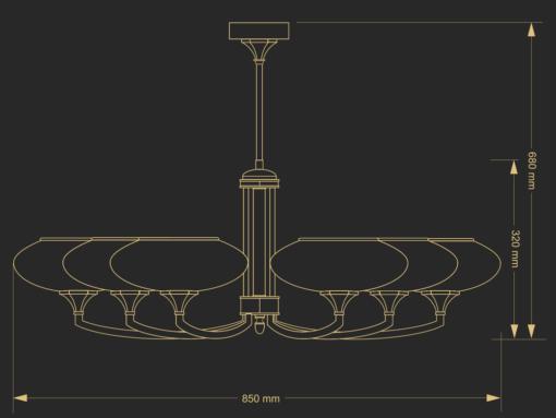 Šešių lempų šviestuvas DECOR