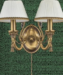 Dvigubas sieninis šviestuvas su tekstilės gaubteliu ROMA