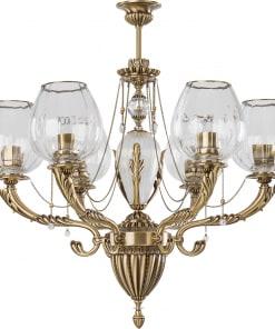 Šešių lempų lubinis pakabinamas šviestuvas su tekstilės gaubeliais KATANIA