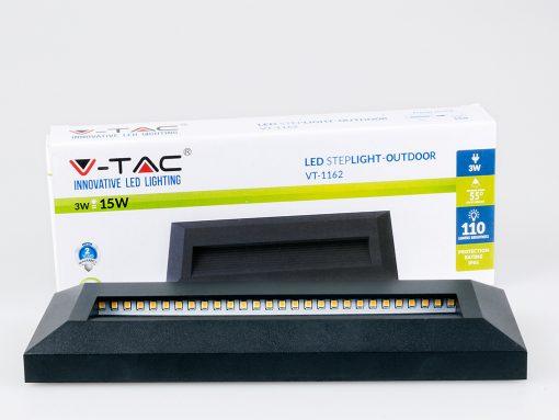 3W stačiakampio formos įleidžiamas LED šviestuvas V-TAC laiptams ir grindims apšviesti