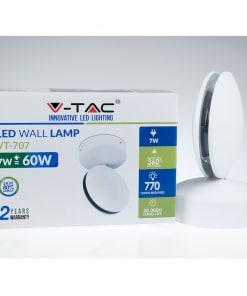 7W apvalus drėgmei atsparus LED šviestuvas V-TAC su reguliuojama šviesos kryptimi (pakuotė)