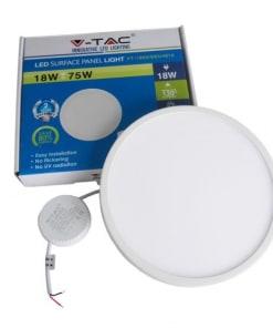 18W paviršinė apvali LED panelė V-TAC PREMIUM