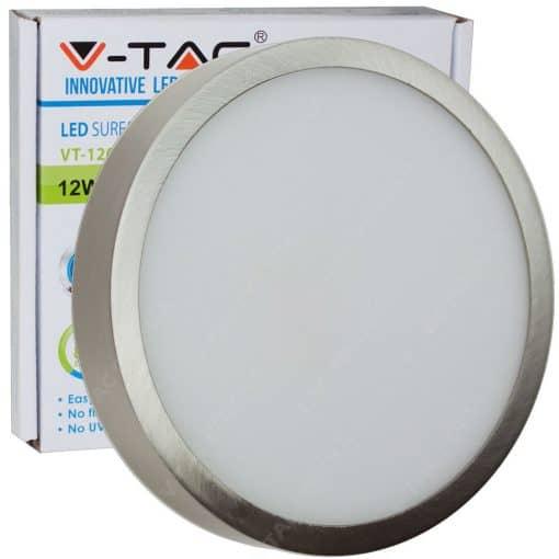 Apvali paviršinė LED panelė V-TAC su satino nikelio spalvos rėmeliu 6W-18W