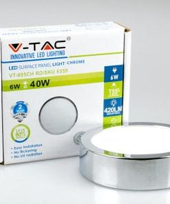 Apvali paviršinė LED panelė V-TAC su chromo spalvos rėmeliu 6W-18W