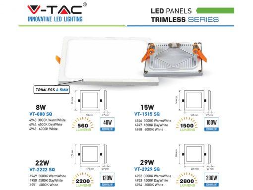 Kvadratinė įmontuojama LED panelė V-TAC Trimless