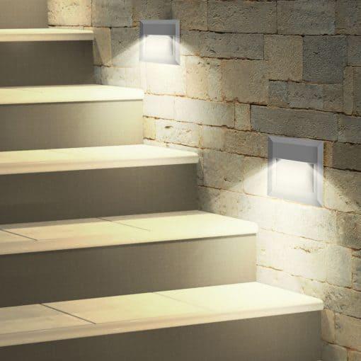 2W kvadratinis paviršinis LED šviestuvas laiptų apšvietimui
