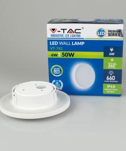 6W atspari vandeniui apvali sieninė lempa su aliuminio korpusu (pakuotė)