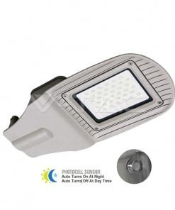 30W pilkas gatvės LED šviestuvas V-TAC IP65 su davikliu