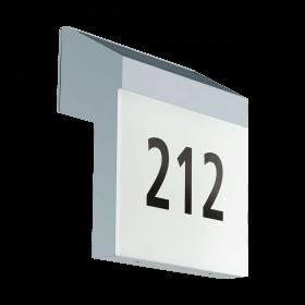 Įkraunamas šviestuvas su namo numeriu LUNANO