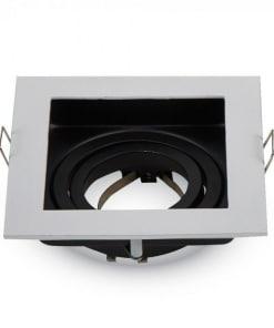 Įleidžiamas kvadratinis reguliuojamas šviestuvas su GU10 lizdu (Nikelio