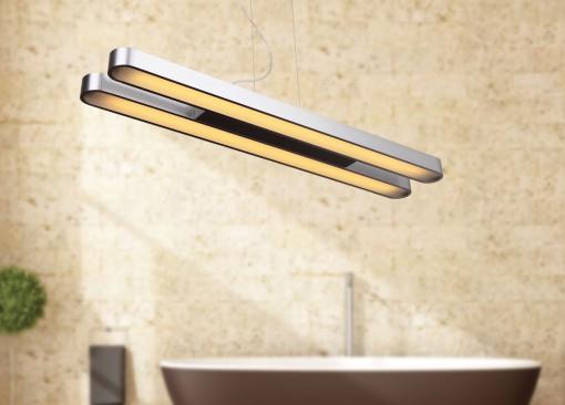Dviejų dalių pakabinamas metalo spalvos šviestuvas SPARTA