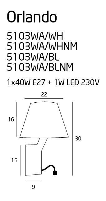 ORLANDO sieninis šviestuvas su 1W LED skaitymui