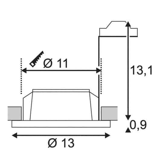 Apvalus įleidžiamas dažomas šviestuvas PLASTRA