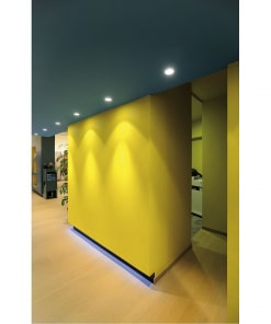 50W apvalus įleidžiamas LED šviestuvas SLV HORN QPAR511 įmontuotas šalia sienos
