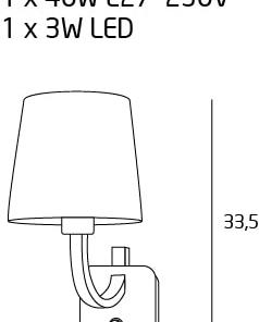 DENVER sieninis šviestuvas su 3W LED skaitymui
