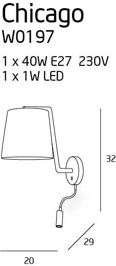 CHICAGO sieninis šviestuvas su 3W LED skaitymui