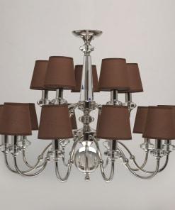 MW-LIGHT elegance 15 lempų sietynas su rudais gaubteliais