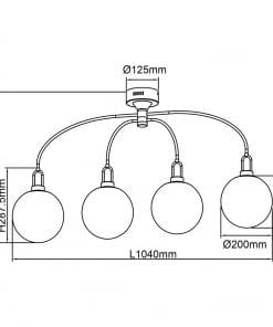 Lubinis šviestuvas su 4 stiklo gaubteliais DeMarkt Loft