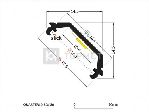 LED juostos profilis TOPMET QUARTER10, anoduotas